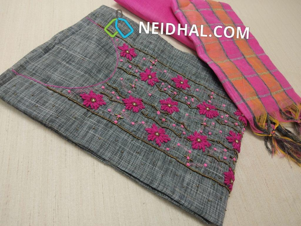 Grey thin Silk Cotton unstitched Salwar material(requires lining) with Thread work, french knot work, bead work on front side, pearl bead work on front side, plain back, Pink silk cotton bottom, multi color checked silk cotton dupatta (tassels needs to be cut and stitched as taping)