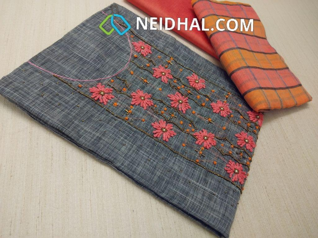 Grey thin Silk Cotton unstitched Salwar material(requires lining) with Thread work, french knot work, bead work on front side, pearl bead work on front side, plain back, Peach silk cotton bottom, multi color checked silk cotton dupatta (tassels needs to be cut and stitched as taping)