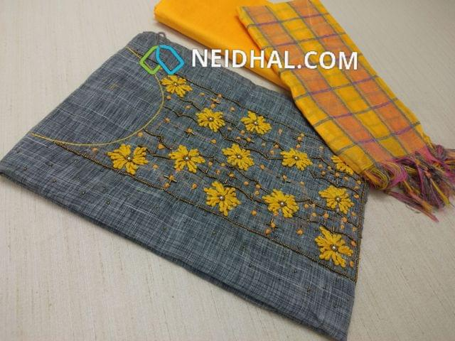 Grey thin Silk Cotton unstitched Salwar material(requires lining) with Thread work, french knot work, bead work on front side, pearl bead work on front side, plain back, Yellow Silk cotton bottom, multi color checked silk cotton dupatta (tassels needs to be cut and stitched as taping)