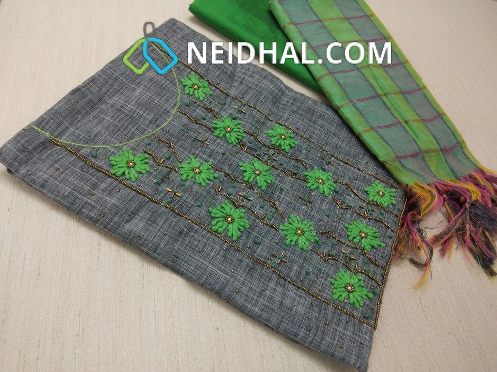 Grey thin Silk Cotton unstitched Salwar material(requires lining) with Thread work, french knot work, bead work on front side, pearl bead work on front side, plain back, Green Silk cotton bottom, multi color checked silk cotton dupatta (tassels needs to be cut and stitched as taping)