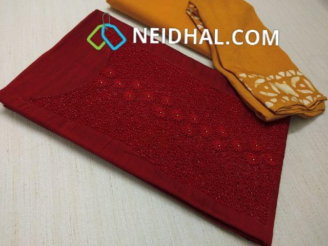Maroonish Red Dupian Silk Unstitched salwar material( with French knot work, Faux mirror work, heavy bead and thread work on yoke daman patch, Yellow cotton bottom, Yellow soft Pashmina Dupatta with Wax batik work and tassels(requires taping)