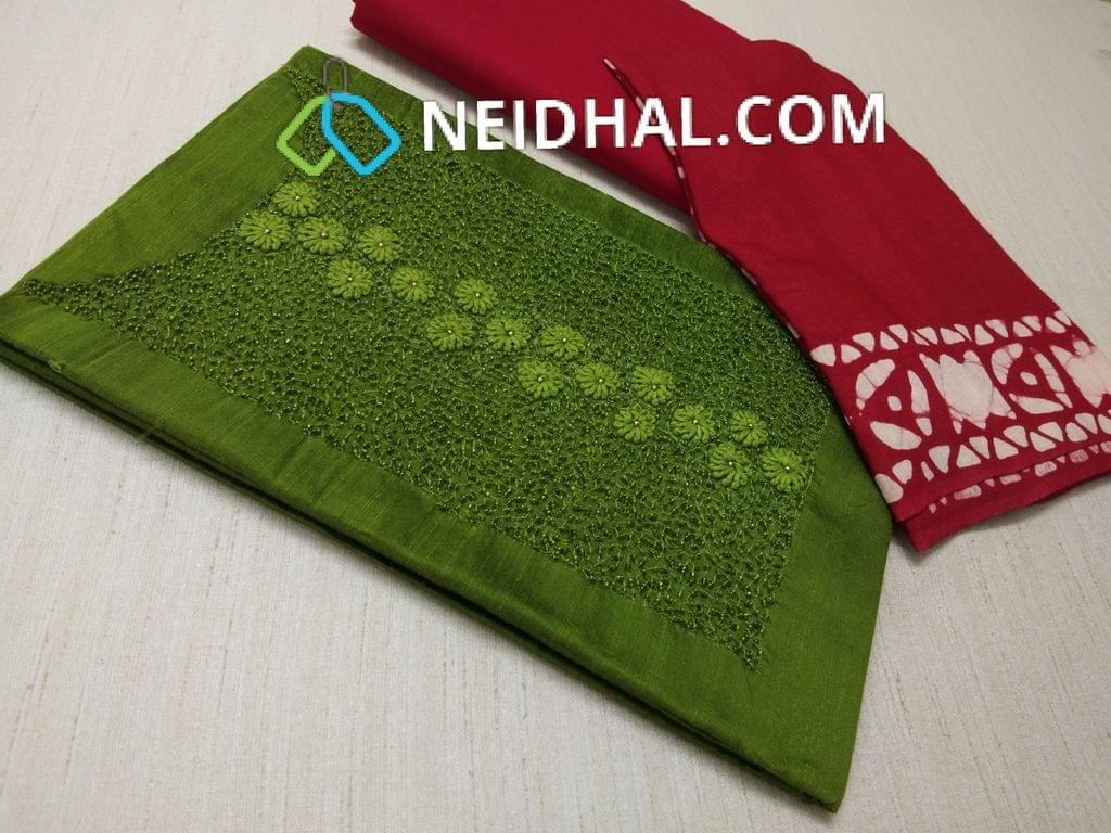 Green Dupian Silk Unstitched salwar material( with French knot work, Faux mirror work, heavy bead and thread work on yoke daman patch, Red cotton bottom, Red soft Pashmina Dupatta with Wax batik work and tassels(requires taping)