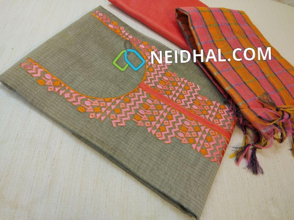 Beige Silk Cotton unstiched salwar material(requires lining) with cross stitch work on yoke, daman patch, peach silk cotton bottom, multicolor silk cotton dupatta with tassels.