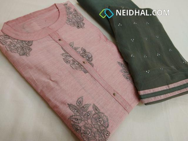 Designer Pink slub silk cotton unstitched salwar material(requires lining) with neck pattern, embroidery work on front side, plain back, Grey cotton bottom, Grey chiffon dupatta with taping