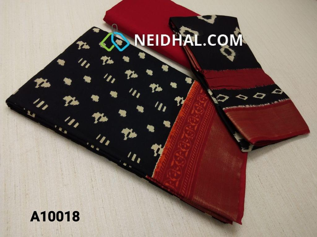 CODE A10018 : Block Printed Black Cotton Unstitched salwar material(there might be variations in print alignment, density due to manual work) , daman patch,  Red Cotton Bottom, Block printed (there might be variations in print alignment, density due to manual work) cotton dupatta.(requires taping)