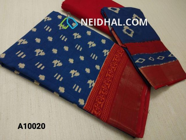 CODE A10020 : Block Printed Blue Cotton Unstitched salwar material(there might be variations in print alignment, density due to manual work) , daman patch,  red Cotton Bottom, Block printed (there might be variations in print alignment, density due to manual work) cotton dupatta.(requires taping)