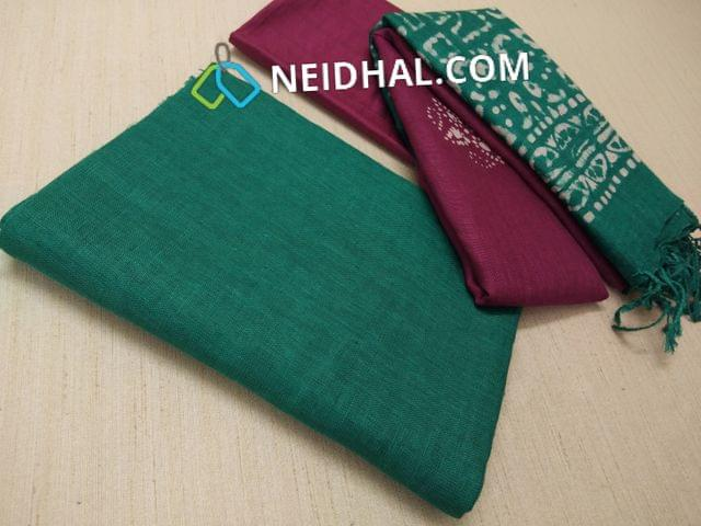 Designer Green Linen unstitched Salwar material(requries lining), Purple soft silk thin bottom, Dual color Batik dyed Linen dupatta with tassels