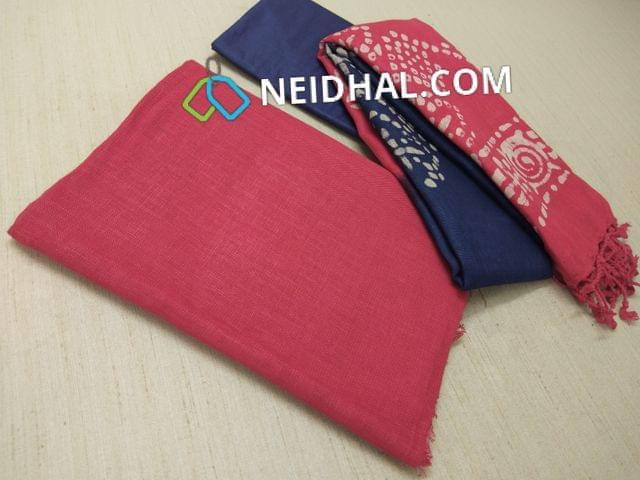 Designer Red Linen unstitched Salwar material(requries lining), Blue soft silk thin bottom, Dual color Batik dyed Linen dupatta with tassels