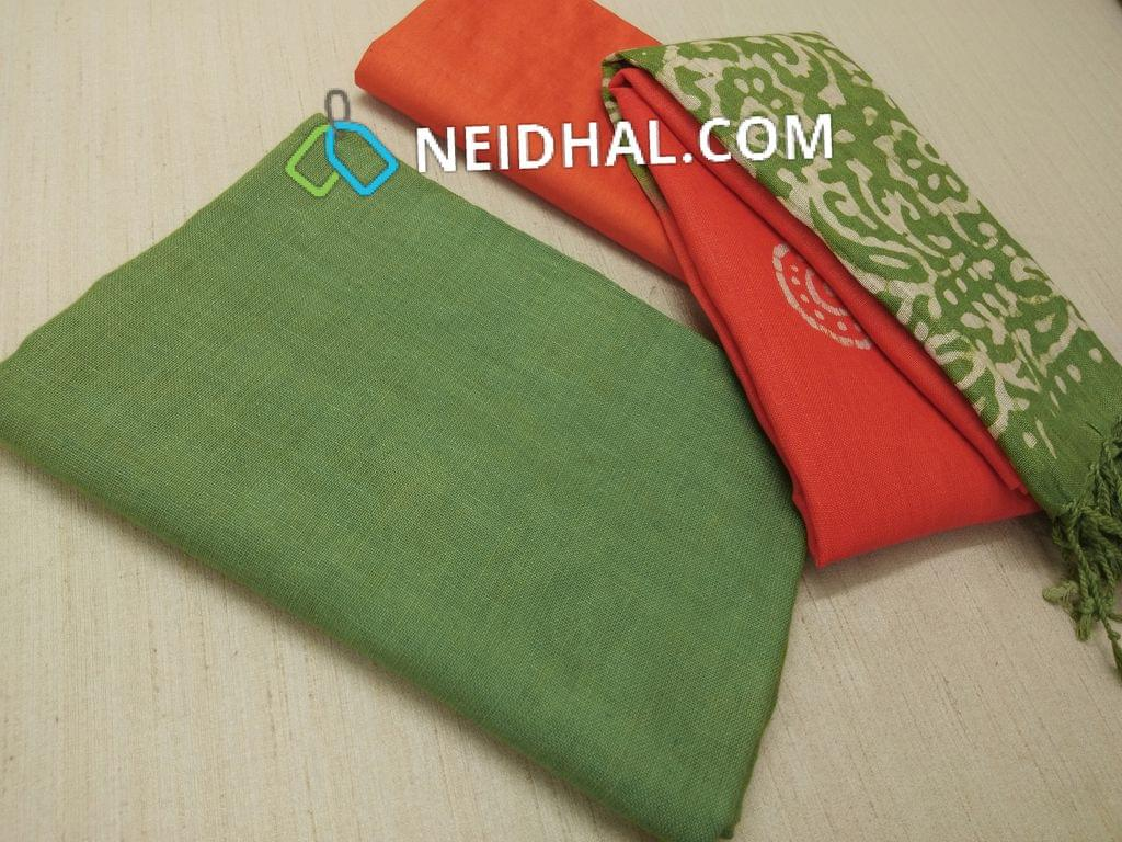 Designer Green Linen unstitched Salwar material(requries lining), Orange soft silk thin bottom, Dual color Batik dyed Linen dupatta with tassels