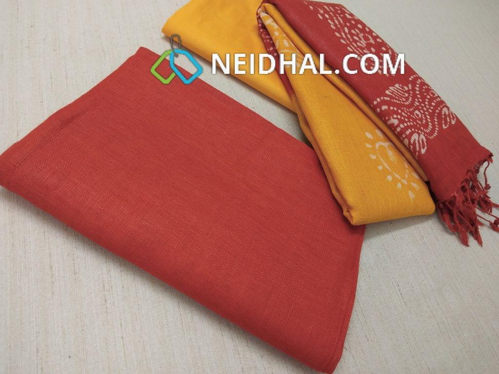 Designer Orange Linen unstitched Salwar material(requries lining), Yellow soft silk thin bottom, Dual color Batik dyed Linen dupatta with tassels