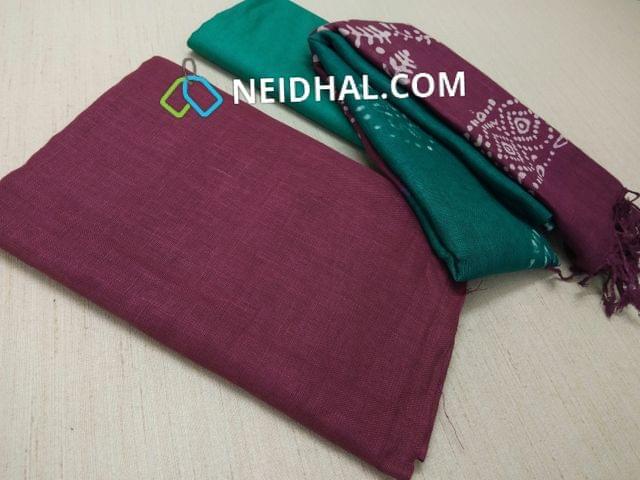 Designer Purple Linen unstitched Salwar material(requries lining), Green soft silk thin bottom, Dual color Batik dyed Linen dupatta with tassels