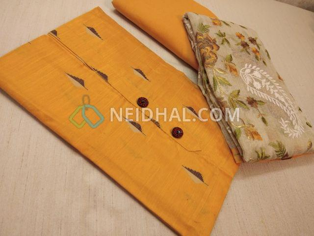 Yellow dupian Silk Cotton unstitched Salwar material(requires lining) with fancy buttons, weaving patterns, drum dyed soft cotton bottom, Beige kora dupatta with heavy colorful thread work and taping
