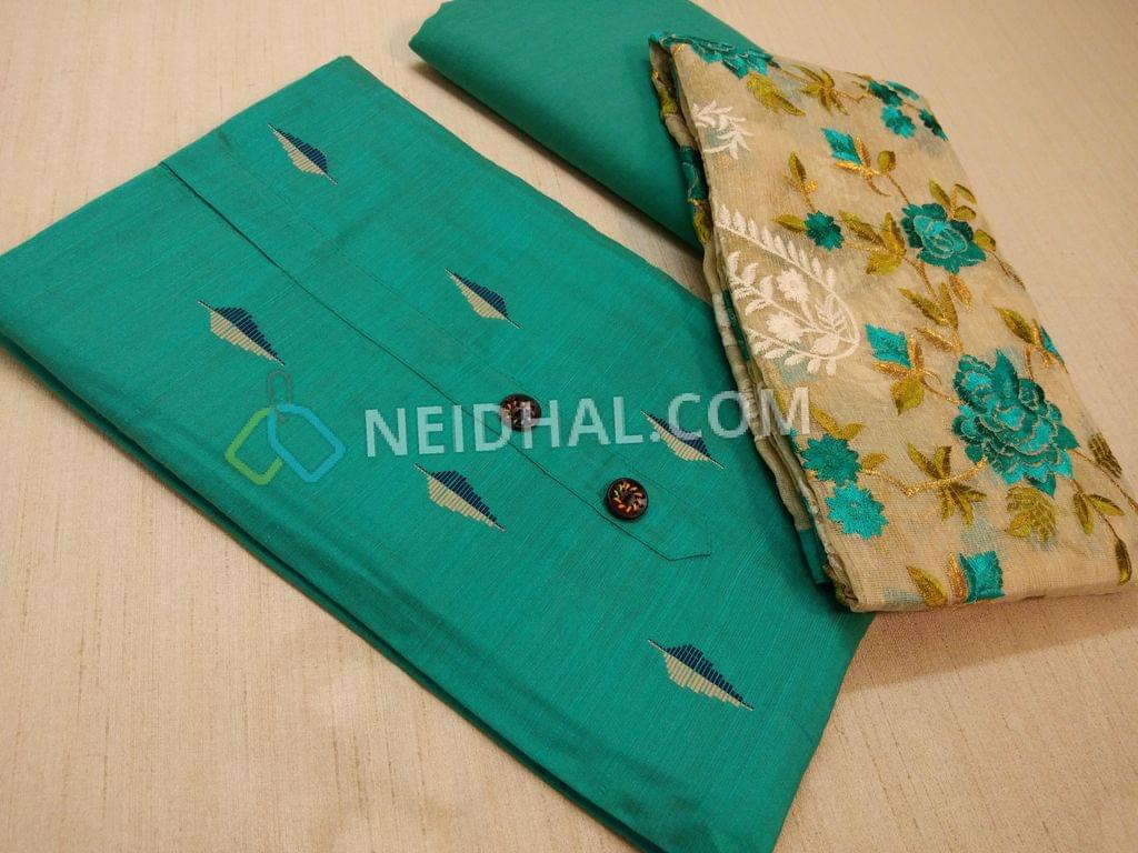 Blue dupian Silk Cotton unstitched Salwar material(requires lining) with fancy buttons, weaving patterns, drum dyed soft cotton bottom, Beige kora dupatta with heavy colorful thread work and taping