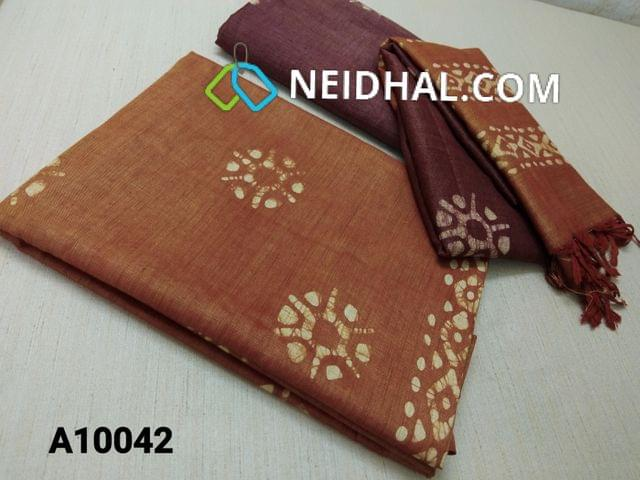 CODE A10042 : Batik Printed Light Brown Bhagalpuri cotton silk(thick fabric, lining not required), Dark Maroon Bhagalpuri cotton silk with prints at bottom side, Dual color Bhagalpuri Cotton silk dupatta with batick prints and tassels.