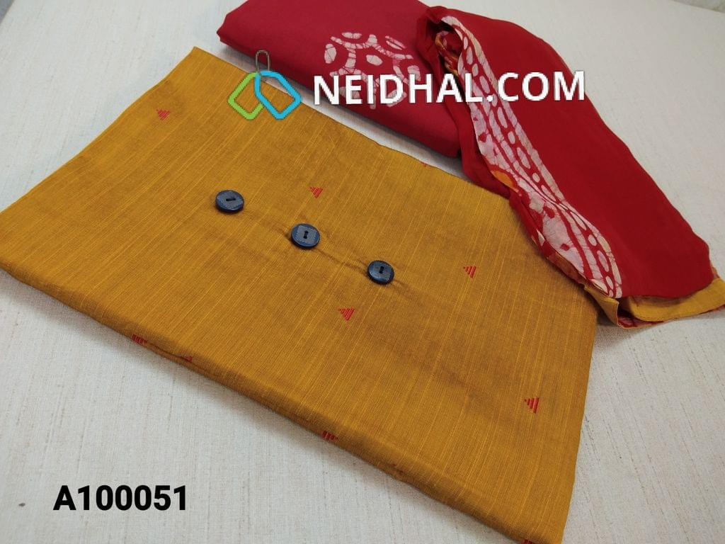 CODE A10051 : Yellow Dupian Silk Cotton unstitiched salwar material(lining Optional) with thread pattern work on front side, Red cotton bottom with batik work, Printed Chiffon dupatta with taping