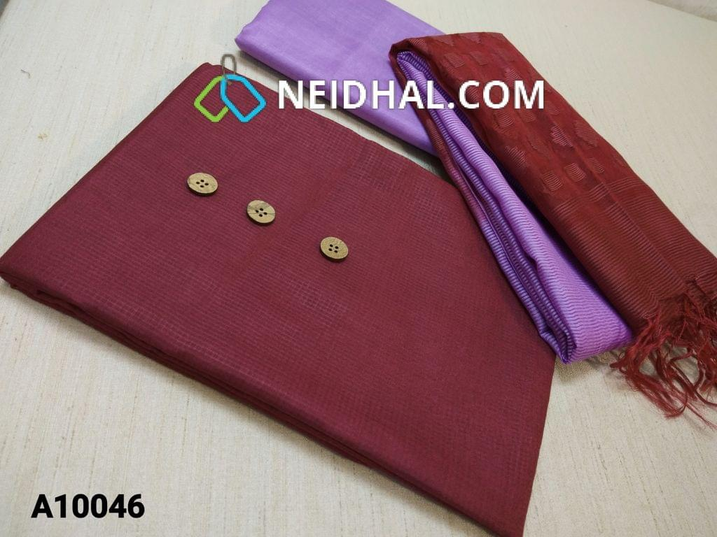 CODE A10046 : Maroon fancy Kota Silk cotton unstitched salwar material(requires lining) with wooden buttons, fancy thin silk cotton bottom, Oraganza dupatta with thread work and tassles