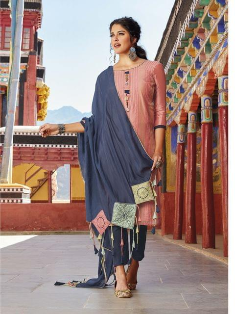 Designer Peachish Silk Cotton unstitched salwar material(requires lining) with pintuk .work front side, metal tassels,  daman patch, Blue Cotton bottom, Blue Silk Cotton with heavy thread work taping colorful tassels