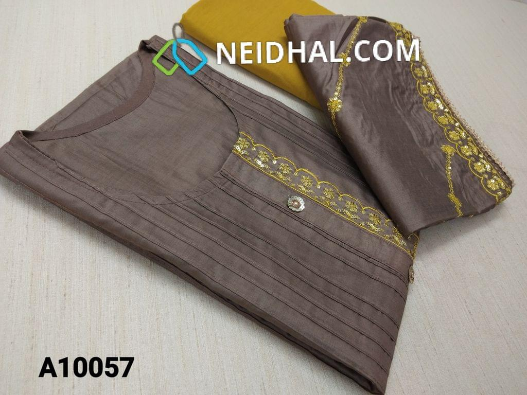 CODE A10057 : Brown Soft thin Silk Cotton unstitched salwar material(requires lining) with Sequins buttons, sequins work on yoke, pintuk work on front side, Mehandi Yellow  drum dyed soft and thin bottom, Heavy sequins and thred  work on soft silk cotton short width dupatt with heavy work taping