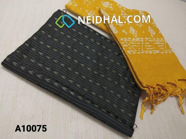 CODE A10075 : Black Jaquard Silk cotton Unstitched Salwar material(requires lining) Yellow batik dyed Bhagalpuri Cotton Silk bottom, Yellow batik dyed Bhagalpuri Cotton Silk dupatta with tassels.(TOP DESIGN DIFFERENT IN VIDEO)