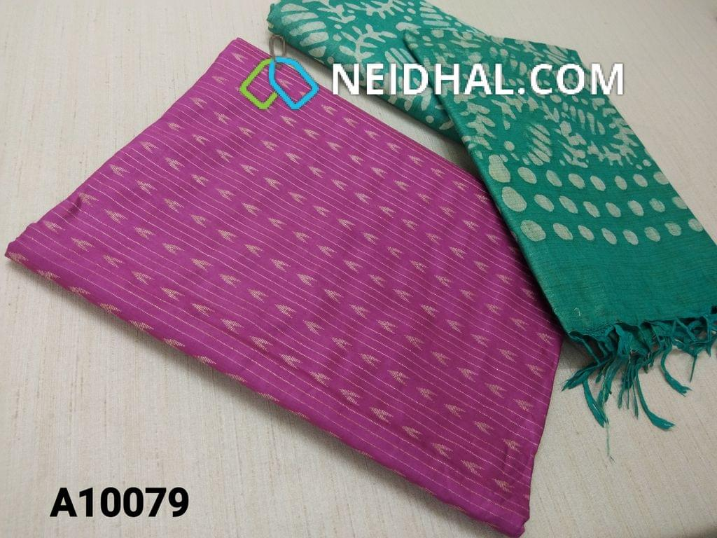 CODE A10079 : Purple Jaquard Silk cotton Unstitched Salwar material(requires lining) with Green batik dyed Bhagalpuri Cotton Silk bottom,  Green batik dyed Bhagalpuri Cotton Silk dupatta with tassels.(TOP DESIGN DIFFERENT IN VIDEO)