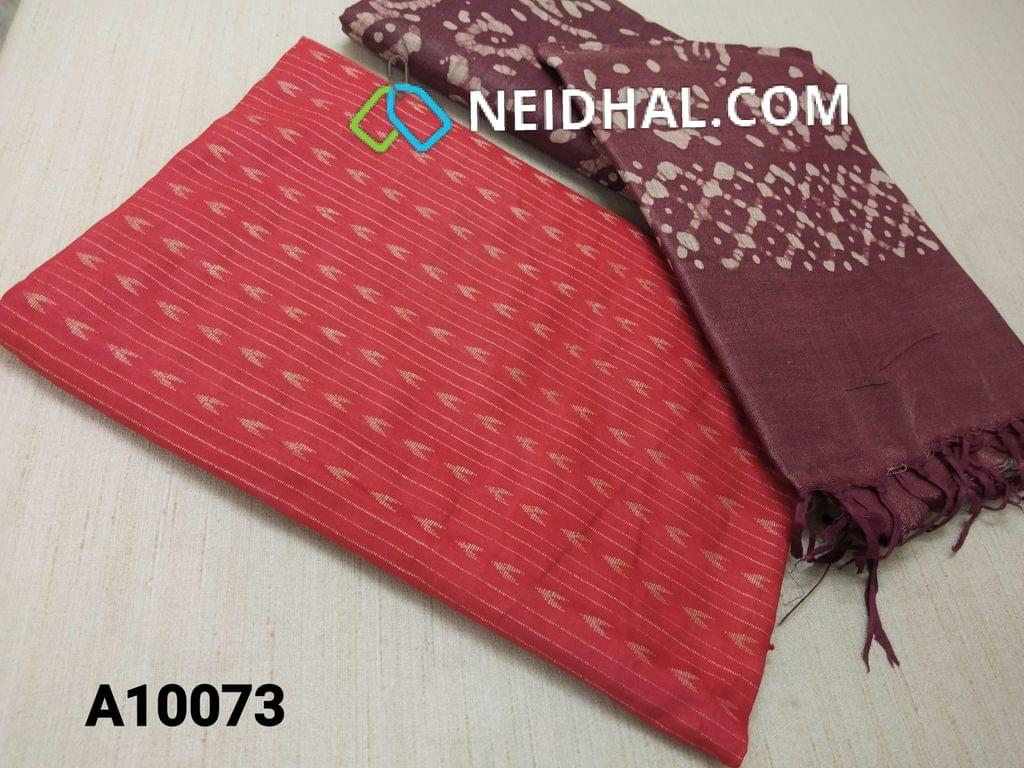 CODE A10073 : Red Jaquard Silk cotton Unstitched Salwar material(requires lining) with Purple maroon dyed Bhagalpuri Cotton Silk bottom,  Maroon batik dyed Bhagalpuri Cotton Silk dupatta with tassels.(TOP DESIGN DIFFERENT IN VIDEO)
