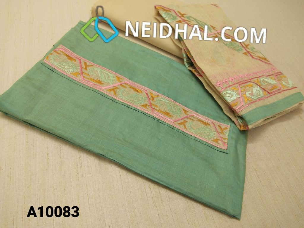 CODE A10083 : Designer Green Silk Cotton Unstiched Salwar material(requires lining) with embroidery patch work on yoke, Beige botton cottom, Heavy cross stitch work on beige kora dupatta with taping.