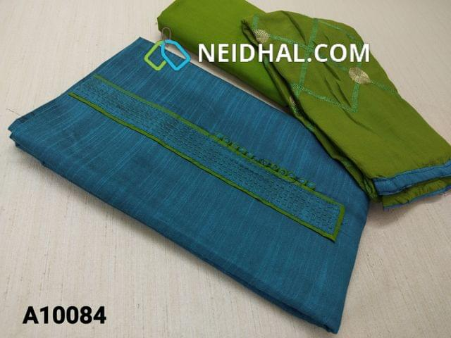 CODE A10084 : Designer Blue Dupian Silk Cotton unstitched Salwar material, with potli buttons, green cotton bottom, Green Chiffon dupatta with heavy thread and zari woking and taping.