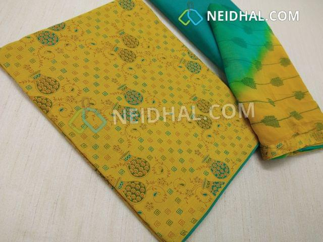 Printed Fenu Greek Yellow Cotton unstitched salwar material, Green cotton, bottom, Printed multi color chiffon dupatta with taping.