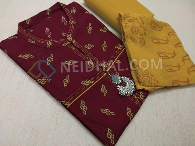 Printed Maroon Modal (flowy fabric) unstitched salwar material with neck pattern, fancy tassels, daman patch, yellow cotton bottom, Block printed yellow chiffon dupatta(taping required)