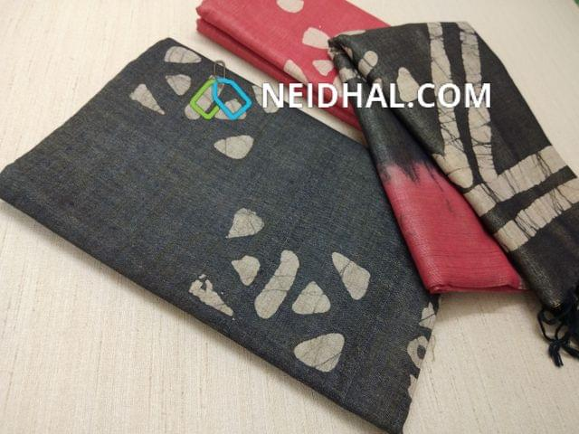 Batik Printed Pepper Black Bhagalpuri cotton silk(thick fabric, lining not required), Pink  Bhagalpuri cotton silk with prints at bottom side, Dual color Bhagalpuri Cotton silk dupatta with batick prints and tassels.