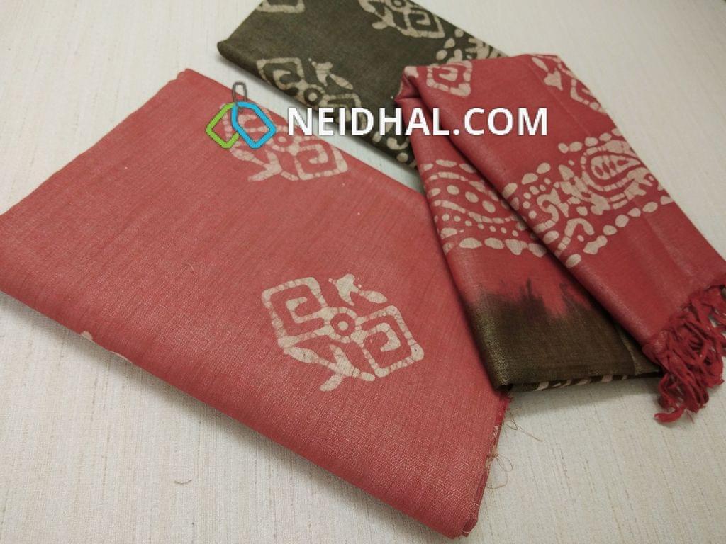 Batik Printed Dark Peach Bhagalpuri cotton silk(thick fabric, lining not required), Green Bhagalpuri cotton silk with prints at bottom side, Dual color Bhagalpuri Cotton silk dupatta with batick prints and tassels.