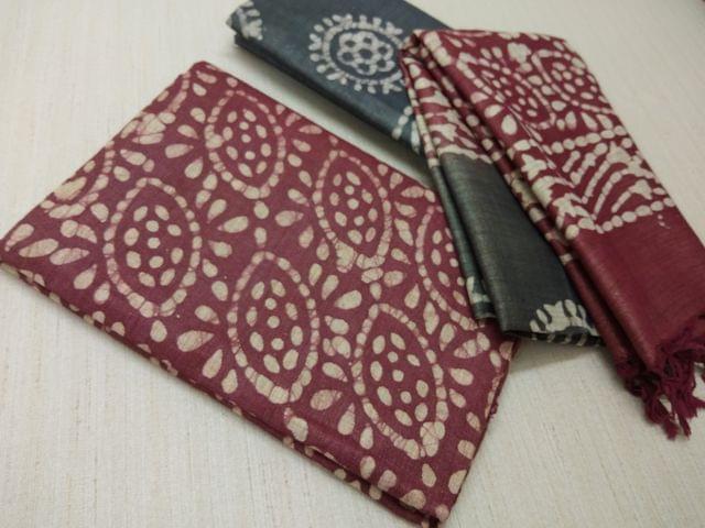 Batik Printed Brown Bhagalpuri cotton silk(thick fabric, lining not required), Greyish Green Bhagalpuri cotton silk with prints at bottom side, Dual color Bhagalpuri Cotton silk dupatta with batick prints and tassels.