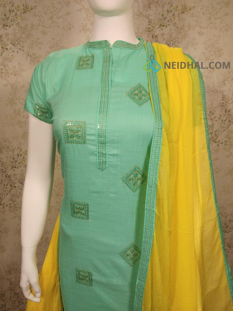 Premium Turquoise Green Slub Modal Fabric unstitched salwar material with embroidery work on front side, plain back side, neck patten, yellow Cotton bottom, yellow chiffon dupatta with taping