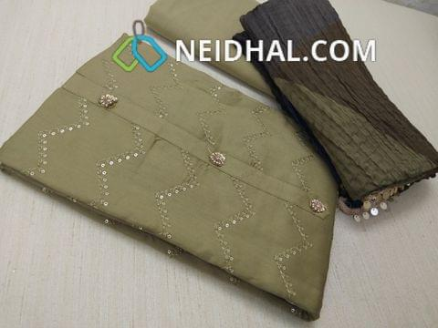 Khaki Green Satin Cotton unstitched salwar material(requires lining) with thread and sequins work on front side, plain back, Khaki Green cotton bottom, multicolor soft silk cotton crush dupatta with fancy tassels( Side taping needs to be done)