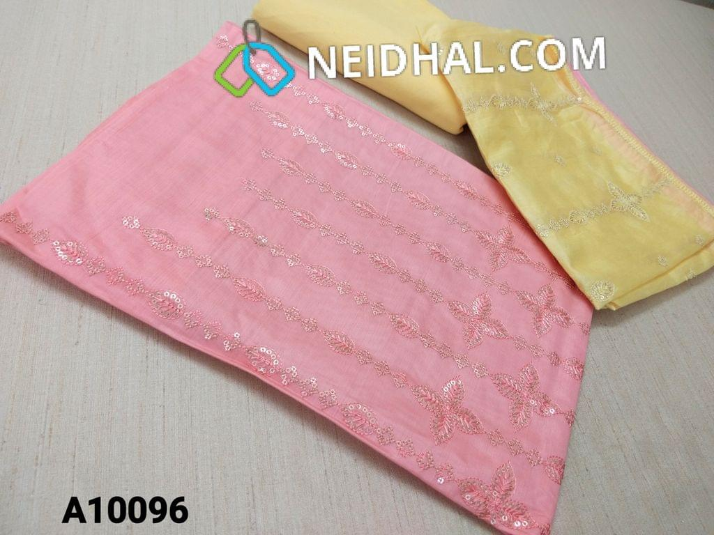 CODE  A10096 : Premium Pink thin Silk cotton Unstitched salwar material(requires lining) with heavy thread and sequins work on yoke, Yellow drum dyed cotton bottom(thin fabric with manual dyeing process), Soft Silk cotton short with dupatta with thread and sequins work.