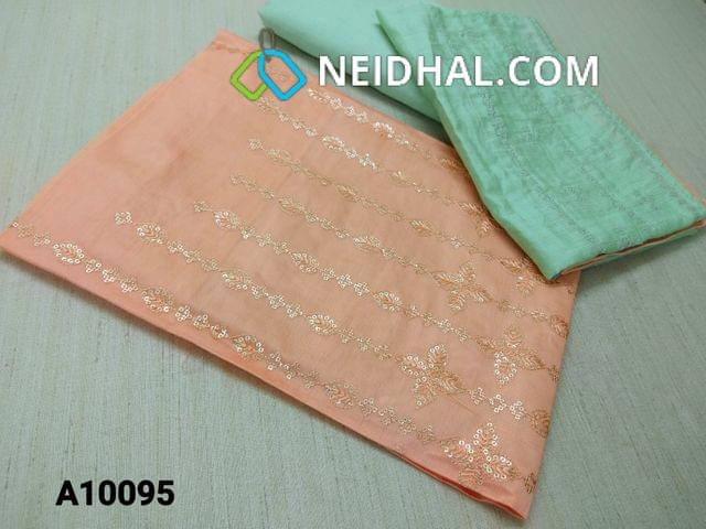 CODE  A10095 : Premium Peach thin Silk cotton Unstitched salwar material(requires lining) with heavy thread and sequins work on yoke, Greenish Blue drum dyed cotton bottom(thin fabric with manual dyeing process), Soft Silk cotton short with dupatta with thread and sequins work.