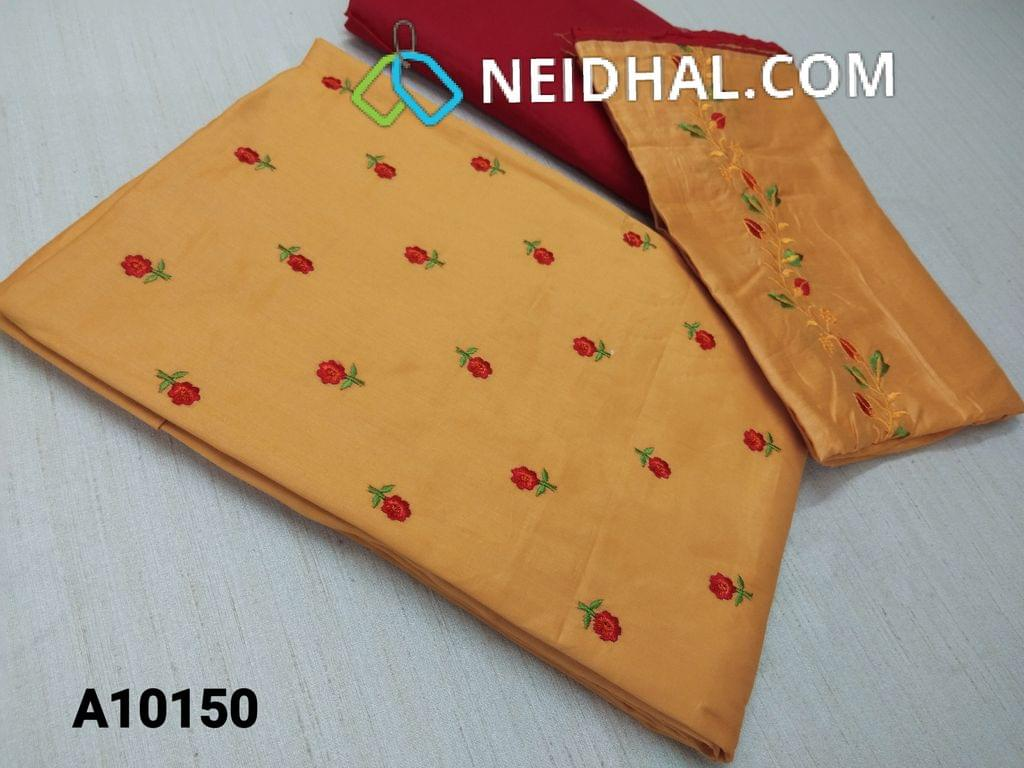 CODE A10150 : Yellow Satin Cotton unstitched Salwar material(requires lining) with embroidery work on front side, back plain, red cotton bottom, embroidery work on cotton dupatta with tapings