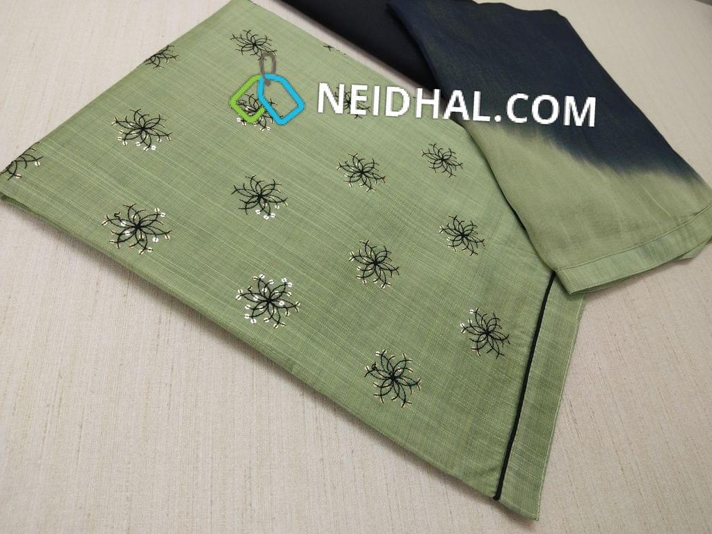 Green Silk Cotton unstitched Salwar material(lining required) with heavy thread and sequins work on front side, plain back, Black cotton bottom, Printed nazneen dupatta with taping