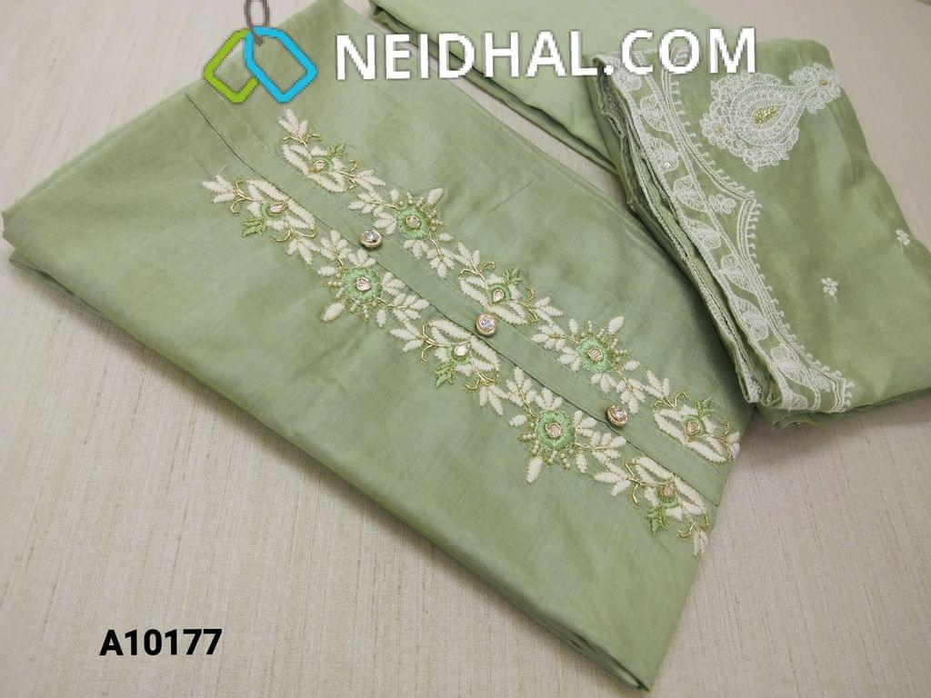 CODE A10177 : Premium Green Soft Silk Cotton unstitched salwar material(requires lining) withgotta work, pipe, bead and thread work on yoke, plain back side,  drum dyed green cotton bottom, embroidery and sequence work on silk cotton dupatta with tapings.