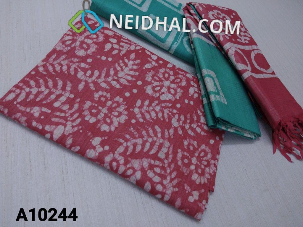 CODE A10244 : Batik Printed Redish Pink Bhagalpuri cotton silk(thick fabric, lining not required), green Bhagalpuri cotton silk with prints at bottom side, Dual color Bhagalpuri Cotton silk dupatta with batick prints and tassels.