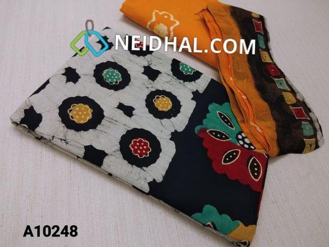 CODE A10248 : Premium Batik Printed Black Cotton Unstitched salwar material(requires lining) with Golden prints, plain back side , yellow Wax batik soft cotton bottom, batik pure chiffon dupatta(requires taping)