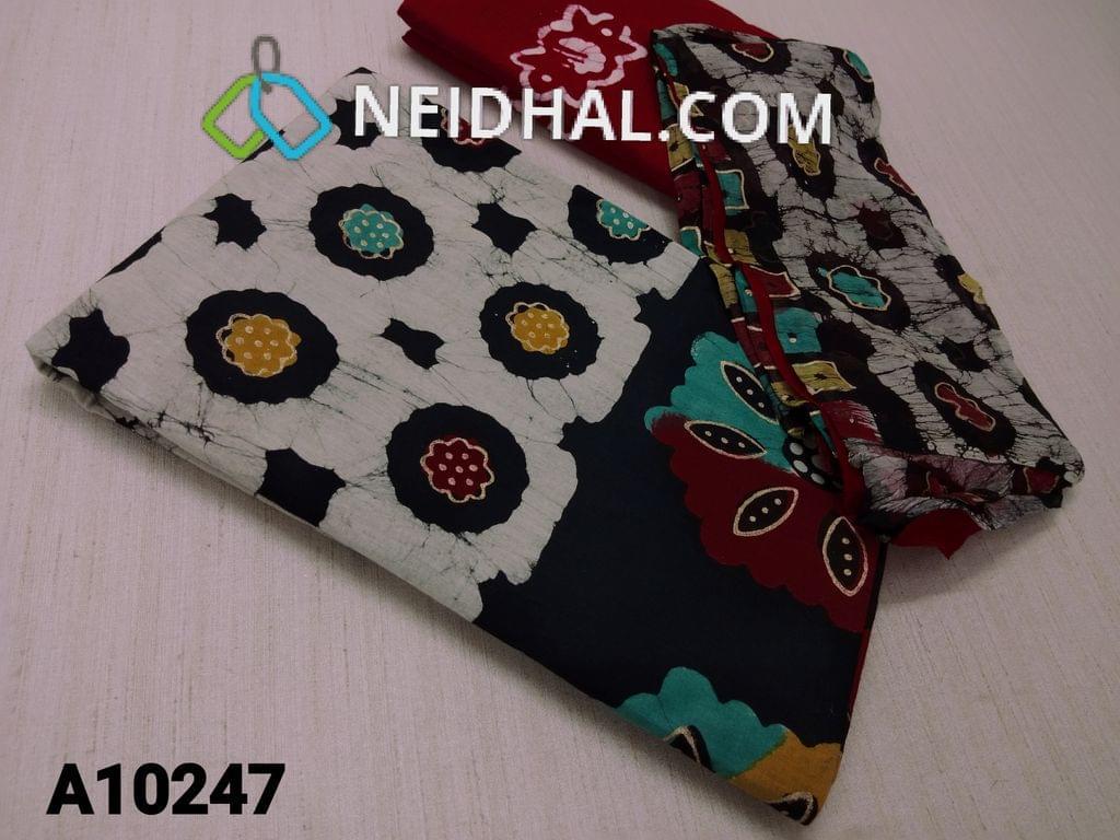 CODE A10247 : Premium Batik Printed Black Cotton Unstitched salwar material(requires lining) with Golden prints, plain back side , red Wax batik soft cotton bottom, batik pure chiffon dupatta(requires taping)