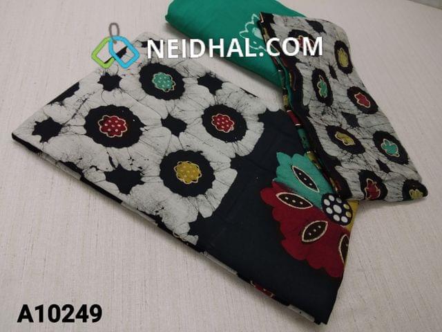 CODE A10249 : Premium Batik Printed Black Cotton Unstitched salwar material(requires lining) with Golden prints, plain back side , green Wax batik soft cotton bottom, batik pure chiffon dupatta(requires taping)