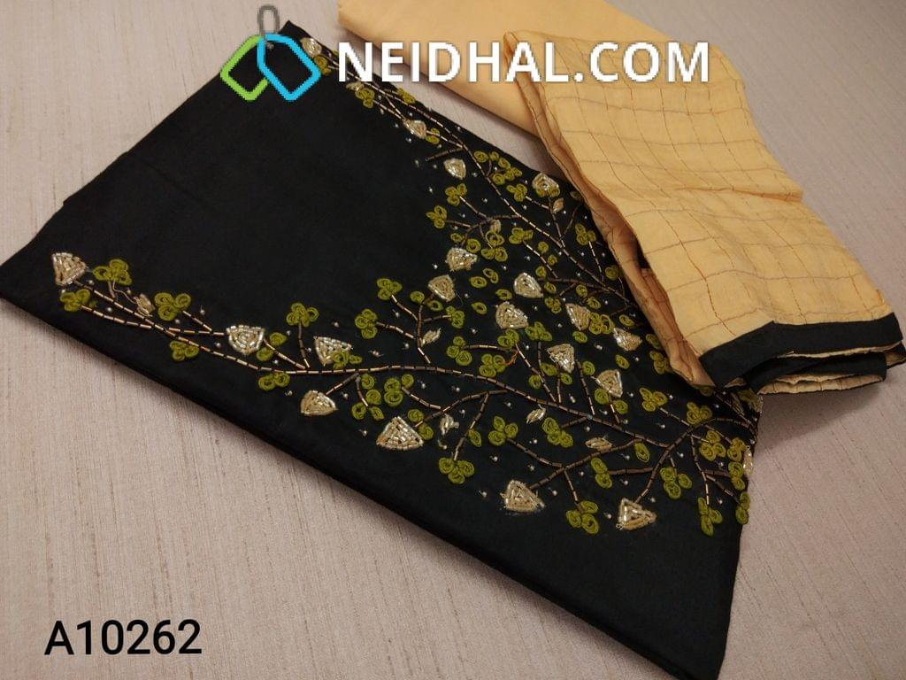 CODE A10262 : Black Silk Cotton unstitched salwar material(requires lining), with pipe and thread work on yoke, yellow cotton bottom, yellow silk cotton dupatta with tassels ( requires tapings)