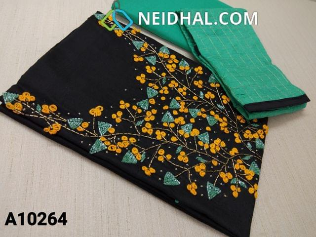 CODE A10264 : Black Silk Cotton unstitched salwar material(requires lining), with pipe and thread work on yoke, green cotton bottom, green silk cotton dupatta with tassels ( requires tapings)