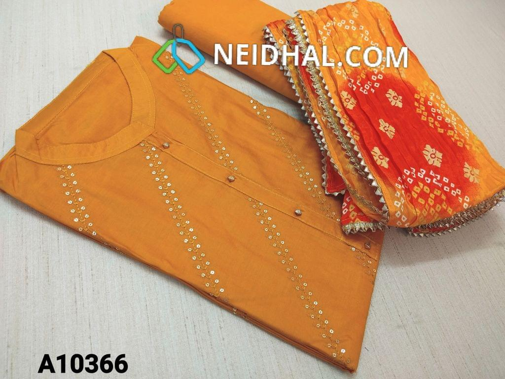 CODE A10366 : Yellow Silk Cotton unstitched salwar material(requires lining) with embroidery and sequence work on frot side, plain back side, neck stitch, yellow cotton bottom,  bandhani printed short width silk cotton dupatta with fancy tapings.