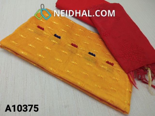 CODE A10375 : Yellow Silk Cotton unstitched salwar material(requires lining) with embroidery work on front side, potli buttons on yoke , plain back side, red cotton bottom, embroidery work on silk cotton dupatta with tassels