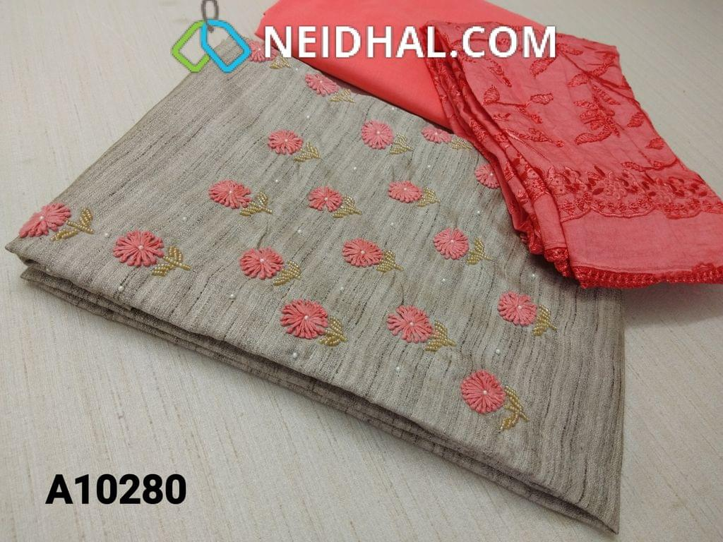 CODE A10280 : Designer Silver Grey Geecha Semi Jute Silk unstitched salwar material(requires lining) with thread work, pearl and bead work on yoke,  peach cotton bottom, Heavy Embroidery work on silk cotton dupatta with lace tapings