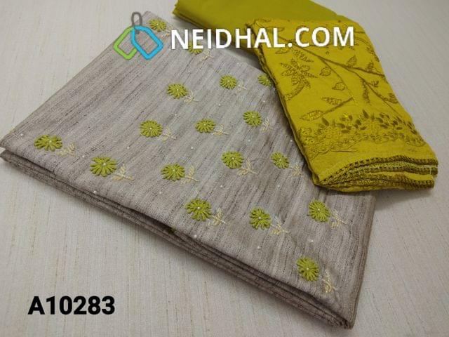 CODE A10283 : Designer Silver Grey Geecha Semi Jute Silk unstitched salwar material(requires lining) with thread work, pearl and bead work on yoke, light green cotton bottom, Heavy Embroidery work on silk cotton dupatta with lace tapings