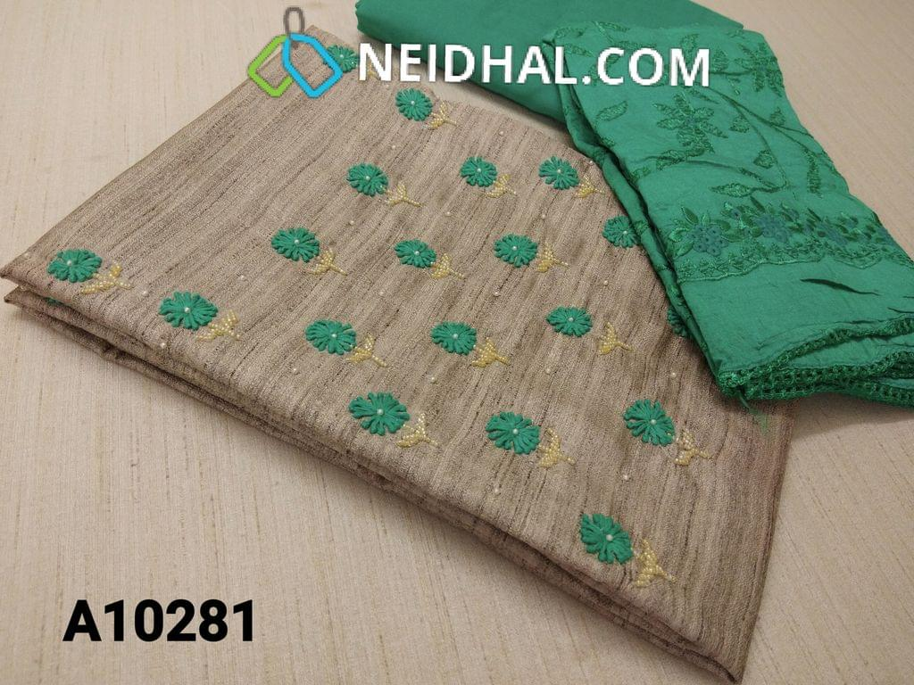 CODE A10281 : Designer Silver Grey Geecha Semi Jute Silk unstitched salwar material(requires lining) with thread work, pearl and bead work on yoke, turquoise blue cotton bottom, Heavy Embroidery work on silk cotton dupatta with lace tapings